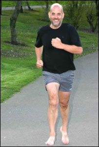 Steve Hammond who is to run the London Marathon barefoot
