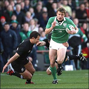 Ireland's Tommy Bowe launches a rare Ireland attack in the first half
