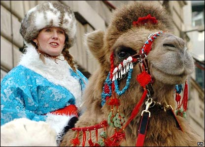 Therese the camel with rider at the Lord Mayor's Show