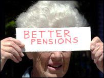 Woman protests about pensions