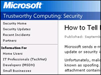 Screengrab of Microsoft security site, Microsoft