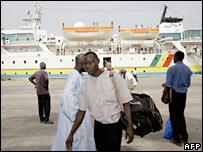 Passengers disembark from the Wilis ferry in Ziguinchore