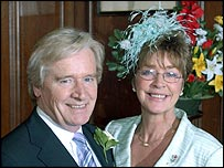 Ken and Deirdre of Coronation Street on their 2005 wedding day