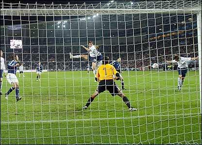 Michael Owen scores his first goal