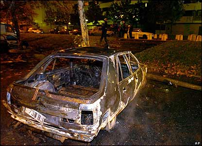 Charred car in Toulouse
