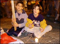 Children at the rally