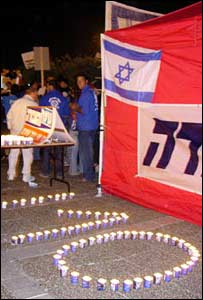 Candles on Rabin Square in Tel Aviv