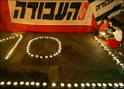 Israeli girls light candles. The writing in Hebrew reads Labour Party.