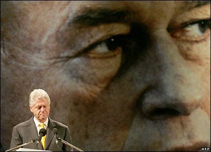 Former US President Bill Clinton addresses the rally