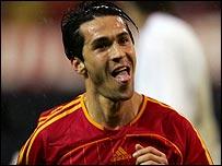 Luis Garcia celebrates his second goal against Slovakia