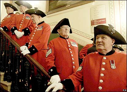 Chelsea Pensioners wait back stage at the Albert Hall
