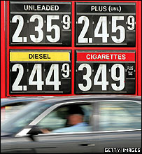 Car drives past gas station price list