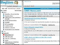Bloglines news reader grab