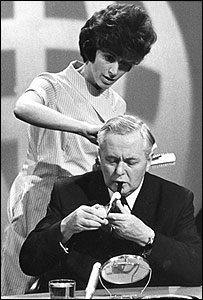 Harold Wilson preparing to appear on Panorama