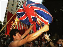 Argentinians burn a union flag in Buenos Aires in 1994