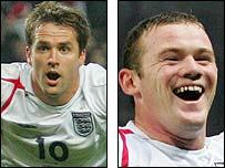 England strike duo Michael Owen (left) and Wayne Rooney