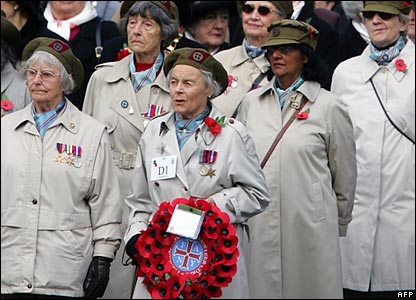Veterans from the First Aid Nursing Yeomanry queue to lay wreaths at the Cenotaph