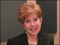 Ministra de Comercio de Nicaragua, Azucena Castillo en los estudios de la BBC en Miami