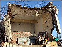 A family's destroyed house in Zalambessa (file photo)