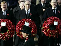 Queen at the Cenotaph, with party leaders in background