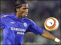 Chelsea's Didier Drogba watches the ball