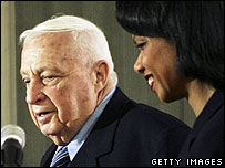 Ariel Sharon with Condoleezza Rice in Israel