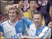Morten Gamst Pedersen celebrates giving Blackburn the lead