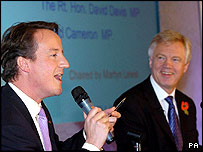David Cameron and David Davis at last week's Conservative women's conference
