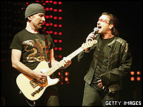 The Edge (left) and Bono from U2