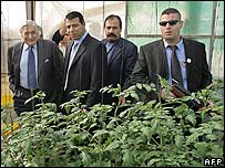 James Wolfensohn (left) visits a former Israeli greenhouse in the Gaza Strip with Palestinian officials