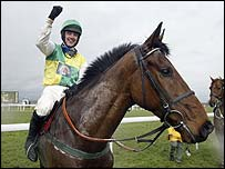 Ruby Walsh celebrates his success on Hedgehunter
