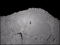 Hayabusa captures its shadow on the surface of Itokawa, Jaxa