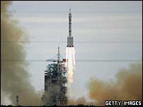 Launch of Chinese manned Shenzhou VI spacecraft