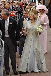 Charles and Camilla (in blessing outfit) greet crowds