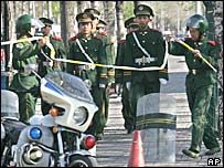 Chinese paramilitary officers outside the Japanese Embassy in Beijing