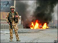 British soldier secures blast scene in Kabul