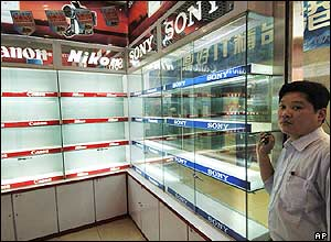 A Chinese shop with empty display cases where Japanese products had been displayed