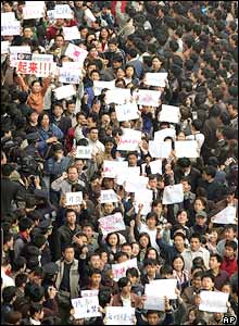 A massive crowd of anti-Japanese protesters in Beijing