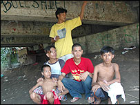 Gang of Phil-Am (Filipino-American) and Filipino street kids who live under a bridge in Olongapo City.