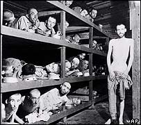 Prisoners inside Buchenwald in 1945