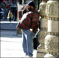 An obese man in New York City