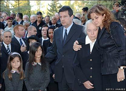 Standing, from left: Yuval Rabin, Rachel Yaakov and Dalia Rabin