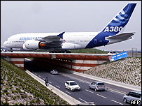 A prototype of a giant Airbus A380 is towed to a testing area near the French city of Toulouse.