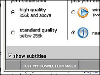 Screenshot of the BBC broadband console with the subtitles option checked
