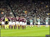 Hearts and Celtic players observe the silence