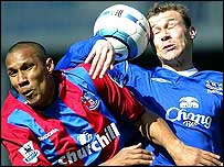 Crystal Palace's Fitz Hall and Everton's Duncan Ferguson challenge for the ball