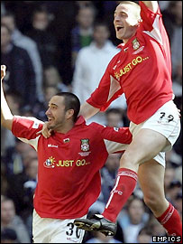 Juan Ugarte celebrates scoring for Wrexham