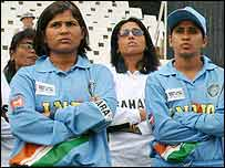 India's players at the post-match ceremony