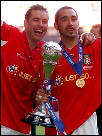 Wrexham goal-scorers Darren Ferguson and Juan Ugarte