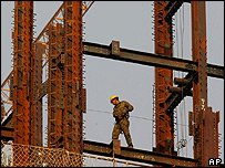 Chinese construction worker at building project in Beijing